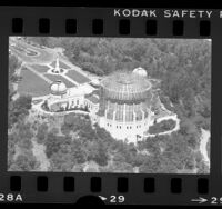 Aerial view of Los Angeles' Griffith Observatory surrounded in scaffolding, Los Angeles, 1984