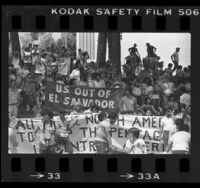 Demonstrators protesting the U.S. policy in Central America at MacArthur Park in Los Angeles, Calif., 1984