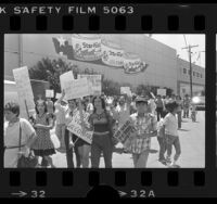 Workers picketing the StarKist cannery on Terminal Island, Calif., 1984