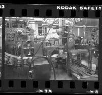 Cartons moving through machines at Alta Dena Dairy ice cream factory in Los Angeles, Calif., 1984