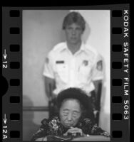 Katsu Saegusa, 88 years old, at hearing on reparations for World War II Japanese American Internees, 1984