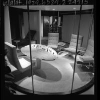 Exhibit of 1960s outer space influenced office furniture at International Design Center, Los Angeles, 1964