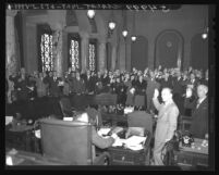 200 key city executives take the first loyalty oath in the City Council Chamber at City Hall, Los Angeles, 1948