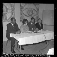 Mansfield Collins, Maureen Murphy, Arthur Silvers and Hershel Lymon at press conference in Los Angeles, Calif., 1964