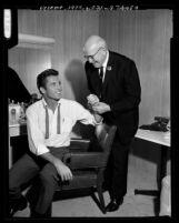 John Raitt with his uncle G. Emmett Raitt in theater dressing room in Santa Ana, Calif., 1964