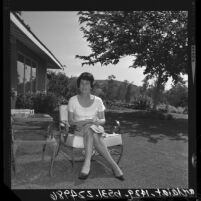 1964 Republican National Convention Hostess and California committeewoman, Patricia Hitt sitting in yard of her Villa Park home