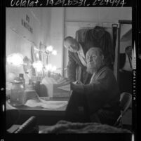 "T. W. Braun and Morris Carnovsky in dressing room at Los Angeles' Pilgrimage Theater on opening night of ""King Lear,"" 1964"