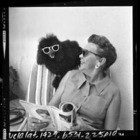 Lema Jean Butcher sitting in lounge chair with her sunglasses wearing poodle, Demi-Tasse, Alhambra, Calif., 1964