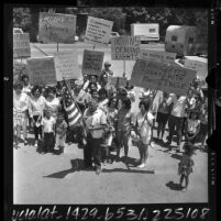 Jauneno Indians carrying placards at demonstration over land rights in San Juan Capistrano, Calif., 1964