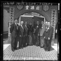 Members of the Soo Yuen Fraternal Association at building dedication in Los Angeles, Calif., 1964