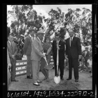 Gene Autry with Pat Wymore, Chuck Chandler and Del E. Webb at groundbreaking for Angel Stadium, 1964