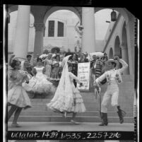 Dancers in Spanish costumes performing at 183rd anniversary of the founding of the City of Los Angeles, 1964