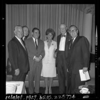 Fresco Thompson, W.J. Bassett, Sen. Pierre Salinger, Gov. Edmund G. (Pat) Brown, Carmen Warschaw and Dan Kimball at Labor Day Breakfast in Los Angeles, Calif., 1964