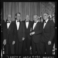 Henry A. Ogen, Leigh Wade, Donald Douglas Sr. and Erik H. Nelson at a Los Angeles Explorers Club event, 1964