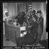 Ben Pollock, Kid Ory, Emma Barrett, Johnny St. Cyr, Louis Armstrong, and Sharkey Bonano performing at Hollywood Knickerbocker in 1961
