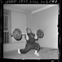 Weightlifter Norbert Schemansky training for 1964 Olympics