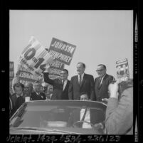 Hubert Humphrey, Vice Presidential candidate, campaigning in Los Angeles, Calif., 1964
