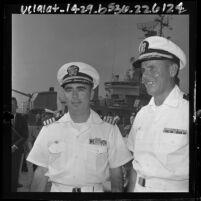 U.S. Navy Captain John J. Herrick and Commander Robert C. Barnhart Jr. back from Tonkin Gulf engagement, 1964