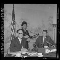 Janet Greene, Fred Schwarz, and Herbert Philbrick at anti-communist press conference in Los Angeles, Calif., 1964