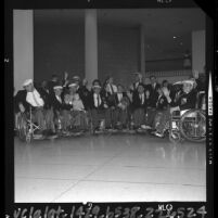 Southern California members of the United States Paralympic team departing for games, 1964