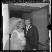 Lance Reventlow and actress Cheryl Holdridge wedding portrait, Calif.,  1964