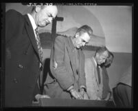 Men of Skid Row missions at prayer on Christmas Day in Los Angeles, Calif., 1948