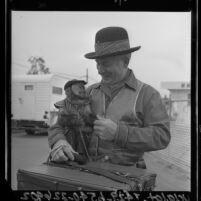 Organ grinder and monkey in Los Angeles, Calif., 1964