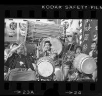 Drummers performing during Nisei Week parade in Los Angeles, 1984