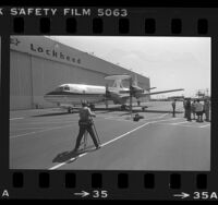 Lockheed Corp. debuts AWACS (Airborne Warning and Control System) plane in Los Angeles, Calif., 1984