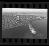 Aerial view of cargo shipping industry along Los Angeles-Long Beach Harbor, Calif., 1984