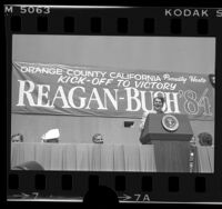 Ronald Reagan speaking at re-election rally in Orange County, Calif., 1984