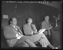 Edward Arnold, Ronald Reagan, and Pat Somerset, officers of Screen Actors Guild during talks about film strike, Calif., 1947