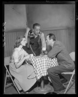 "Actors Lauren Bacall, Humphrey Bogart and Henry Fonda in scene from television broadcast play ""Petrified Forest"", 1955"