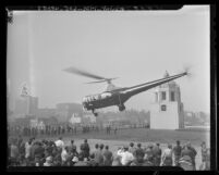 Los Angeles Airways helicopter landing on the roof of Los Angeles Post Office Terminal Annex, first helicopter air-mail, 1947