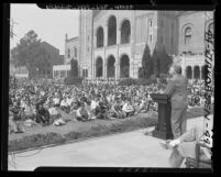 University of California President Robert Gordon Sproul addressing U.C.L.A. students in front of Royce Hall, 1947