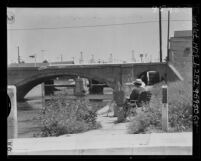 Know Your City No.186; Bridge over Grand Canal with oil wells in background at Venice, Calif.