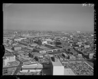 Know Your City No.199; Cityscape view looking east from the City Hall tower in Los Angeles, Calif., 1956