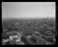 Know Your City No.200; Cityscape view looking south by west from the City Hall tower in Los Angeles, Calif., 1956