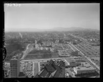 Know Your City No.201; Cityscape view looking west from the City Hall tower in Los Angeles, Calif., 1956