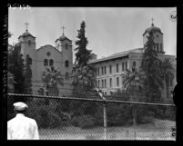 Know Your City No.221 View over fence of buildings of Ramona Convent in Alhambra, 1956