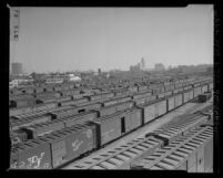 Know Your City No.248 Southern Pacific railroad freight yard with Los Angeles skyline in background