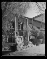 Know Your City No.249 Front porch and marker of Avila Adobe on Olvera Street, Los Angeles, 1956