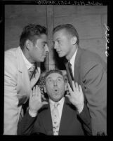 Tennis players Tony Trabert and Pancho Gonzales with Beans Reardon at Bond Club luncheon in Los Angeles, Calif., 1955