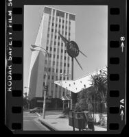 Ships Coffee shop and high rise building at corner of Glendon Ave. and Wilshire Blvd. in Westwood, Calif., 1984