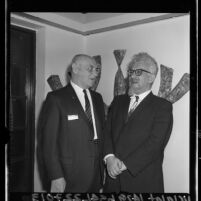 Samuel A. Fryer and Abraham Joshua Heschel of University of Judaism chatting in Los Angeles, Calif., 1964