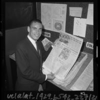 U.S. Olympic runner Billy Mills visiting the Los Angeles Times sports office, 1964