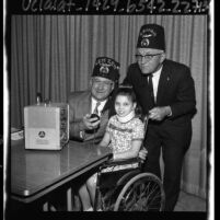 Two masons with a hospital patient inaugurate the Shriners' Amateur Radio Service Los Angeles, Calif., 1965