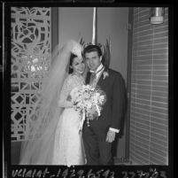 Wedding portrait of actress Annette Funicello and agent Jack Gilardi, Encino, 1965