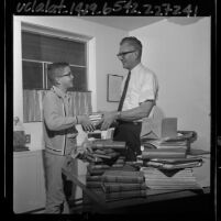 Grandview Presbyterian Church of Glendale minister, Lee V. Kliewer with son in Glendale, Calif., 1965