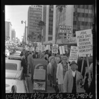 Pickets from Jewish organizations protesting the end of War Crimes Statute of Limitations at German Consulate Los Angeles, Calif., 1965